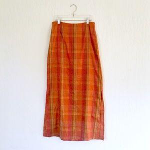 Anthropologie orange plaid silk maxi column skirt